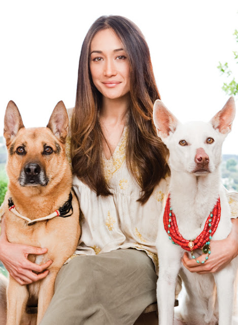 Maggie Q and two of her dogs