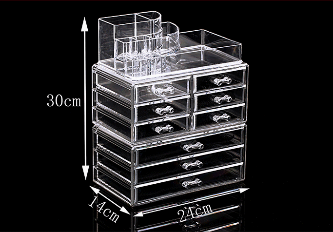 9 Drawers Cosmetic Organizer Clear Acrylic Makeup Case Box Jewelry Storage Premium Set Dimension