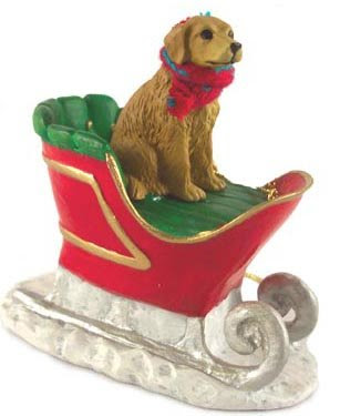 Golden Retriever Dog in Sleigh Christmas Ornament New