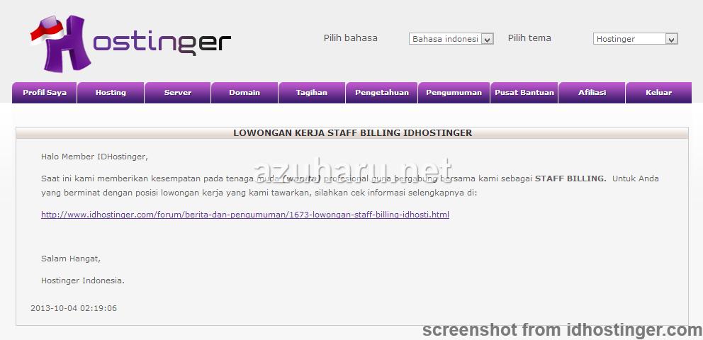 cara hosting web di idhostinger