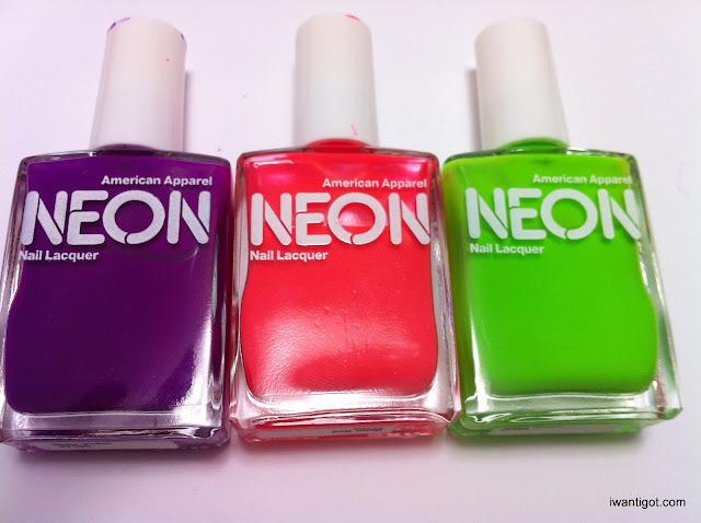 American Apparel Neon - Purple, Red, Green