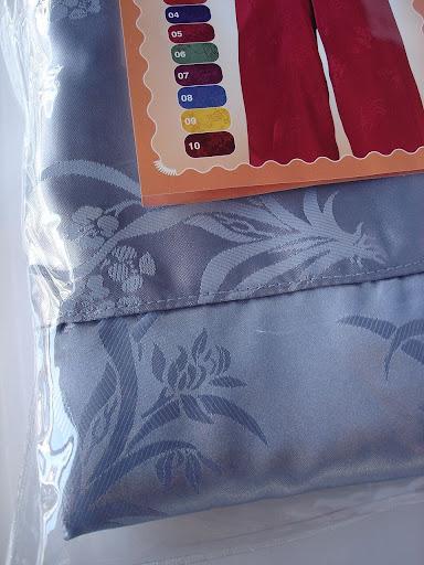 กางเกงแพรจีนแท้รุ่นเอวยาง สีเงินอมฟ้า (กางเกงผู้ชาย กางเกงนอนผู้ชาย )