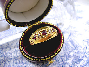 Edwardian Gypsy Wedding Ring 18ct Antique Ruby Diamonds 1906