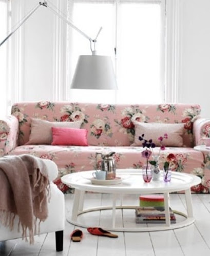 Interior design vintage floral couch white living room