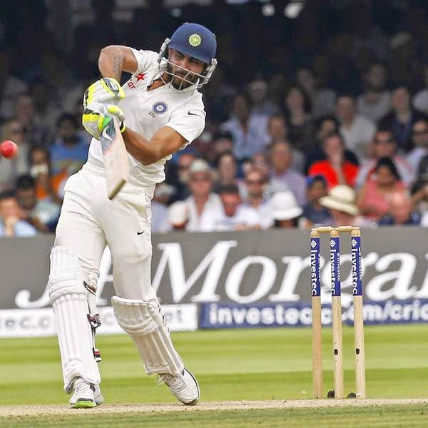 India's Ravindra Jadeja plays a shot during the fourth day of the second Test cricket match between England and India, at Lord's Cricket Ground in London, England on July 20, 2014.