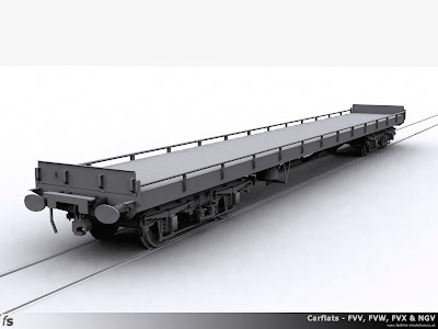 Fastline Simulation - Carflats: Quick mock-up render of one of the carflats for RailWorks Train Simulator 2012 converted from a mk1 carriage.