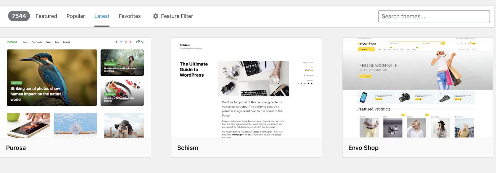 Search WordPress Themes