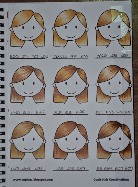 Elizabeth Whisson, copic journal, copic colours, colour combinations, color, hair colour, hair color