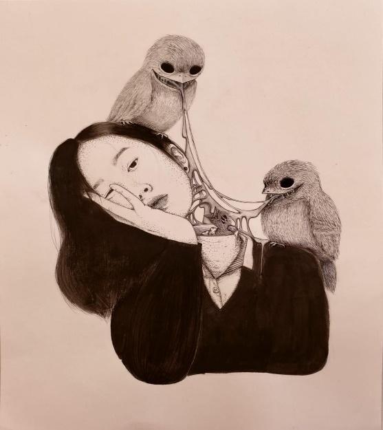 Ornithophobia, Fear of birds (IG: k0ella) : creepy   Creepy, Art ...
