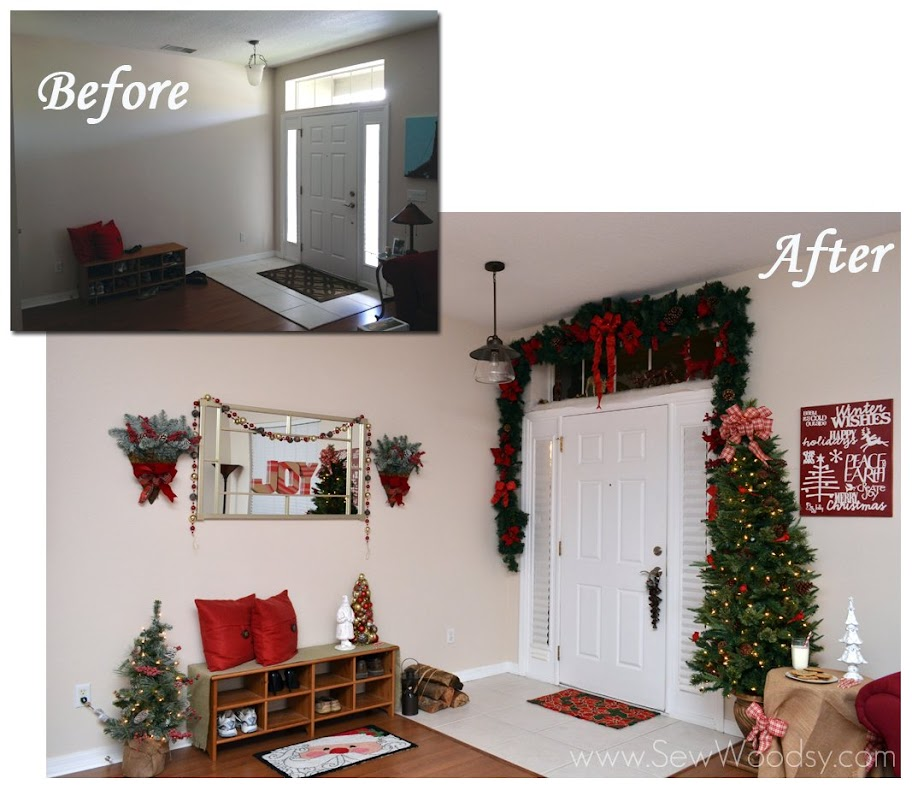 "(Before and After) ""Deck the Entry Hall"" with Martha Stewart Living Holiday Collection"