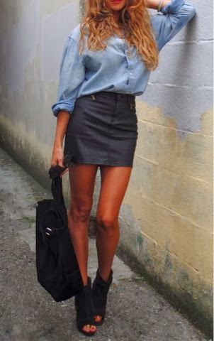 Denim shirt, skirt, handbag and shoes