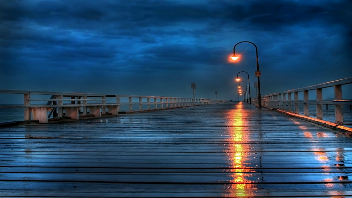 board walk rain wallpaper