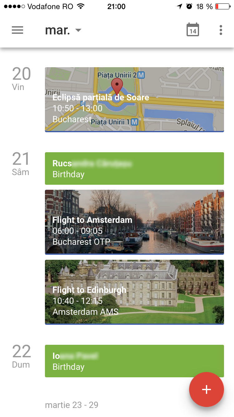 Google Calendar for iOS in schedule view