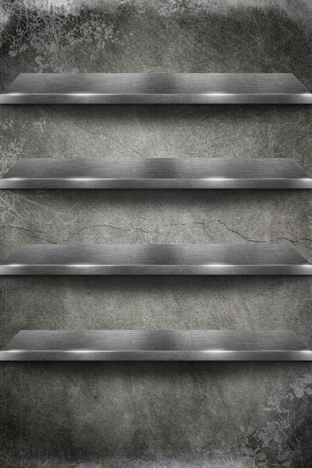 Gray Shelves 3D Wallpapers For iPhone4S