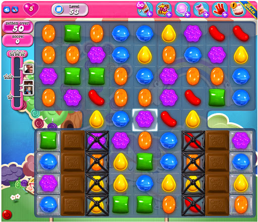 Candy Crush Saga App voor Android, iPhone en iPad - afbeelding chocolade in Candy Crush Saga