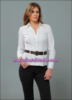 markafoni Marks and Spencer kemerli beyaz gömlek modelleri