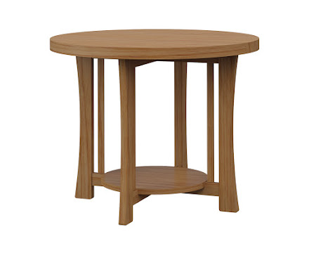 Round Craftsman End Table in Manor Hickory