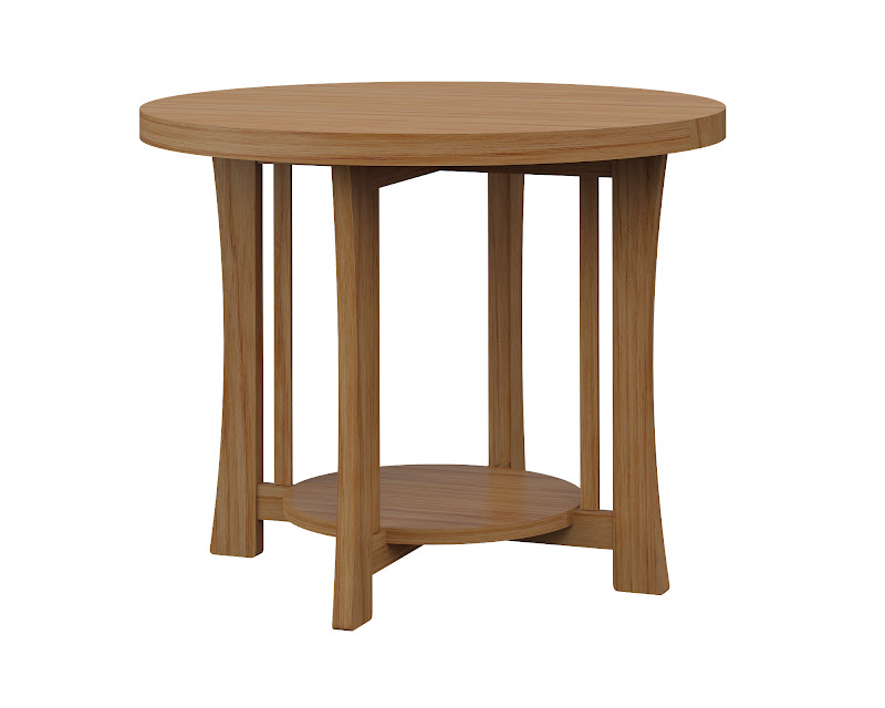Round Craftsman End Table In Manor Hickory. «»