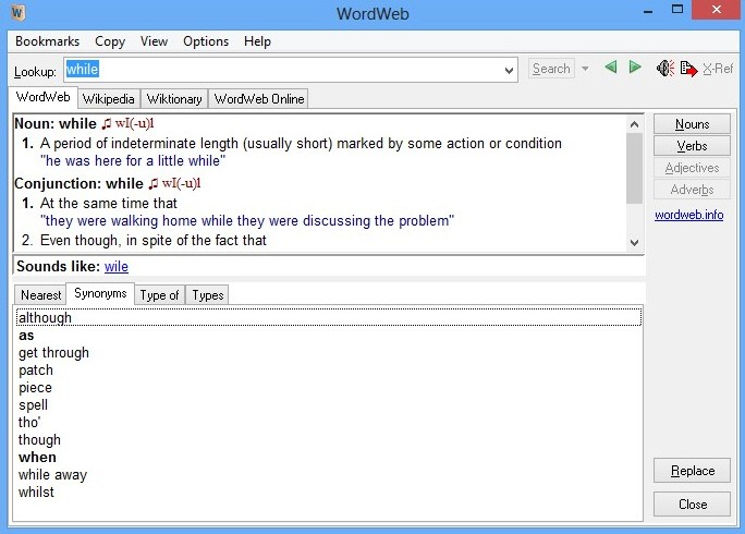 Screenshot of WordWeb v.7.0 Dictionary Offie Tools PC Software Free Download at Alldownloads4u.Com