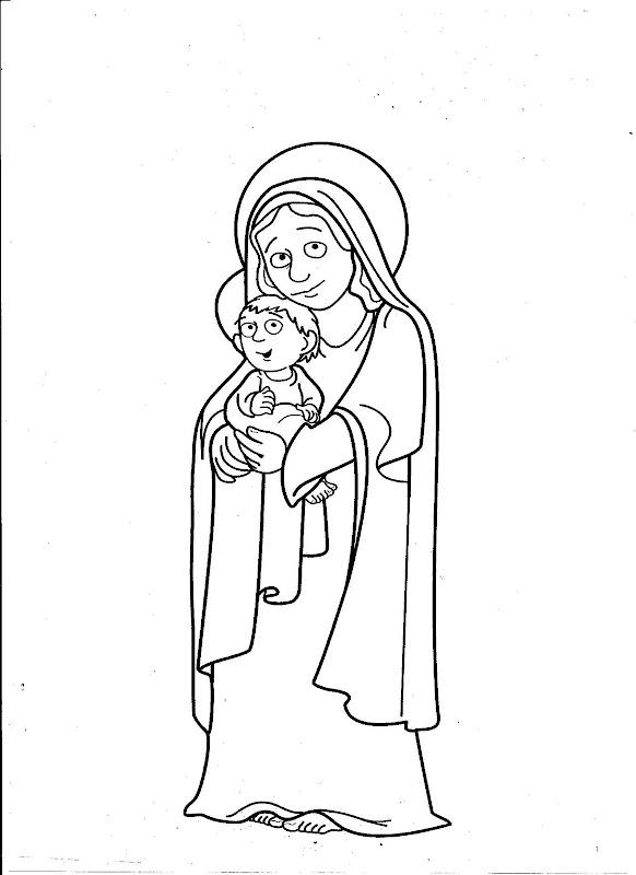 Nuestra señora y el niño Jesús para colorear