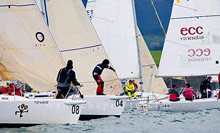 J/80 sailboat- sailing away from starting line- ECC VIVIENDAS
