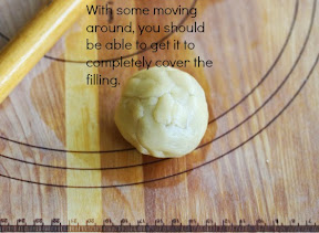step by step photo showing how you can stretch and smooth the dough over the filling so its covered completely