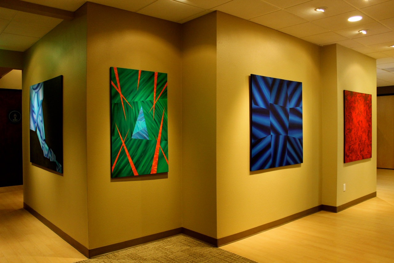Victor Angelo Geometric Abstraction Paintings Corporate Art Building