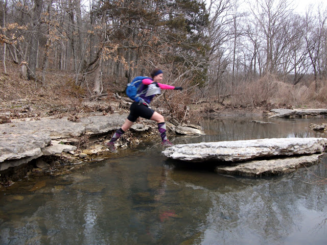 Kage Jumping a creek
