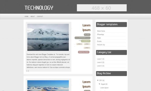 Technology Grey Free Blogger Layout Template
