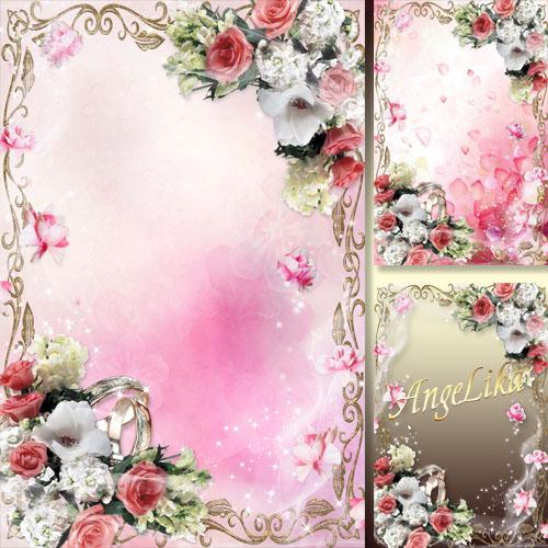 Праздничная рамка для молодоженов - Свадебные розы так нежны