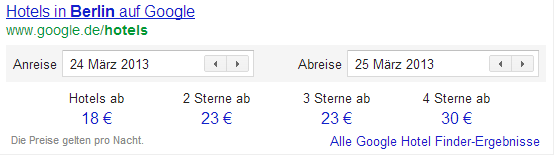 Google Hotel Finder Websuche