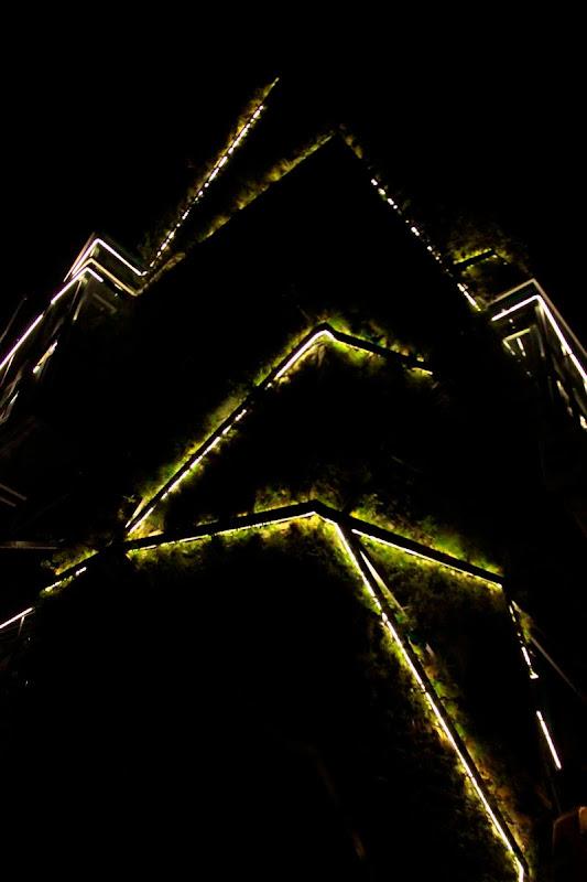 iluminación nocturna jardín vertical