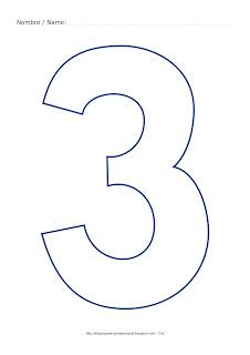 Dibujo para colorear y pintar el número tres en color azul