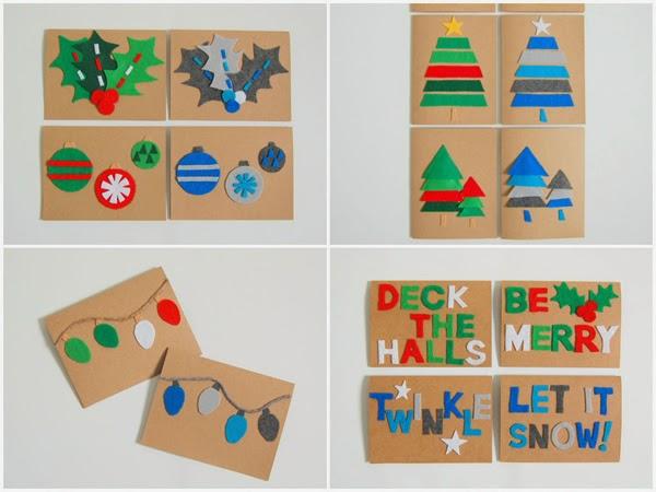 Opções de cartão para o Natal de feltro