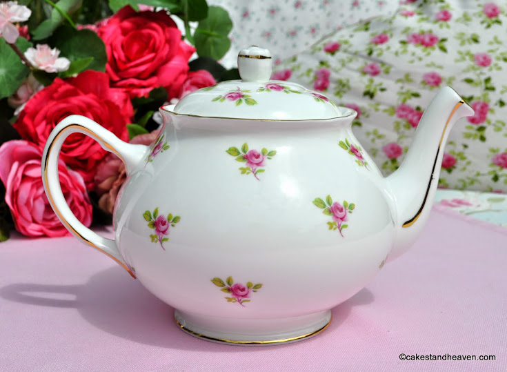1960s Vintage bone china pink roses teapot