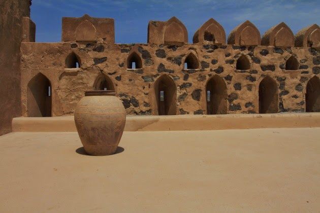 Pot on the roof of Jabrin Castle, Oman