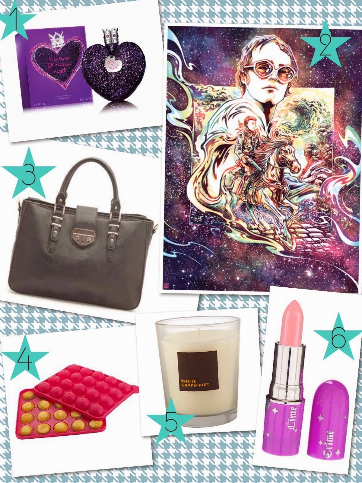 Vera-Wang-Night-Princess-Clarks-bag-Candle-Lime-Crime-Babette-Cake-Pops