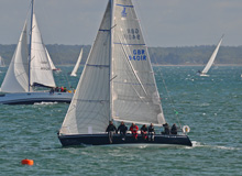 J/105 sailing on Solent, England