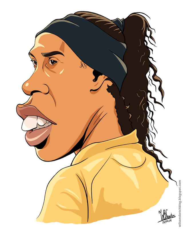 Cartoon caricature of Ronaldinho Gaúcho, using Krita.