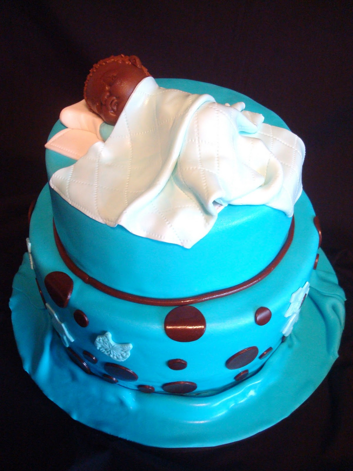 Pink Little Cake Blue and Brown Baby Shower Cake