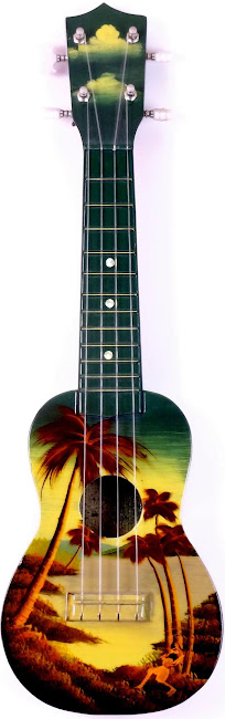 japanese made hand painted tourist ukulele for Hilo Hawaii