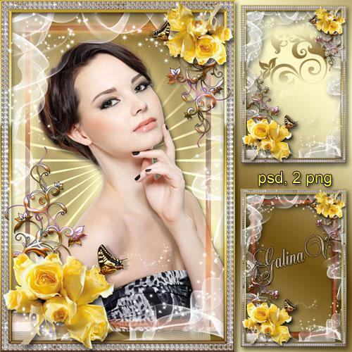Цветочная рамка - Сладость жёлтых роз
