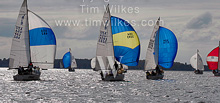 J/24 one-design sailboats- sailing under spinnaker