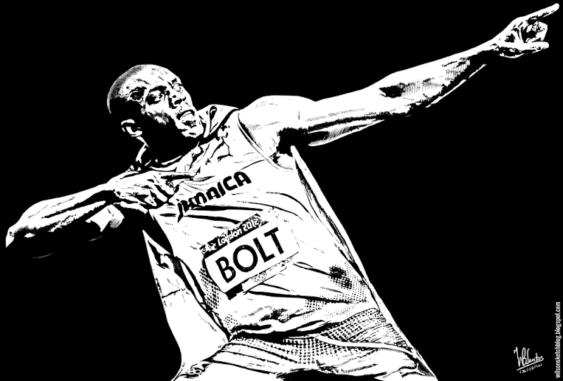 Ink drawing of Usain Bolt, using Krita 2.4.