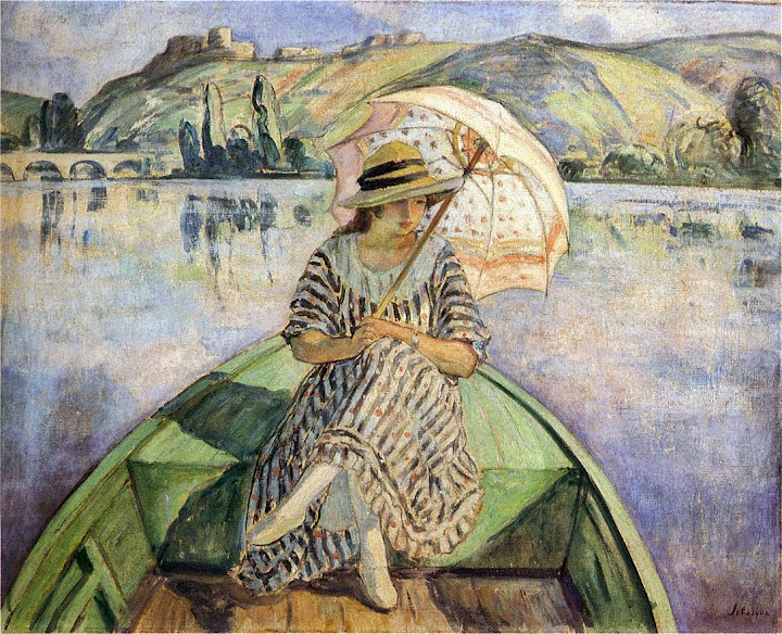 Henri Lebasque - Woman in a boat with an umbrella