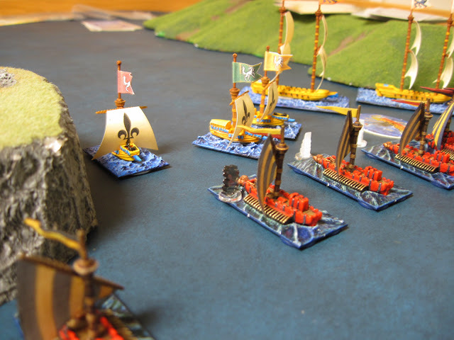 Buccaneers let fly on the War Galleys but fail to do any damage.