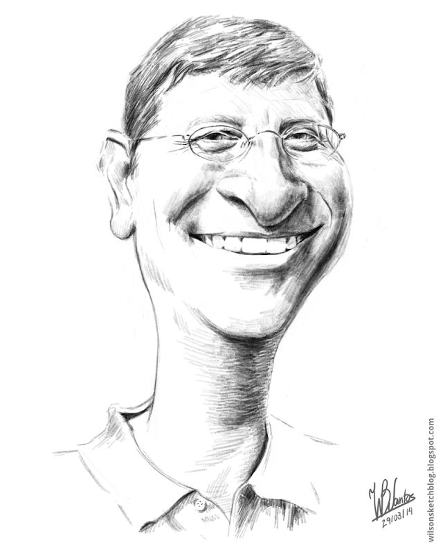 Sketch caricature of Bill Gates, using Krita.