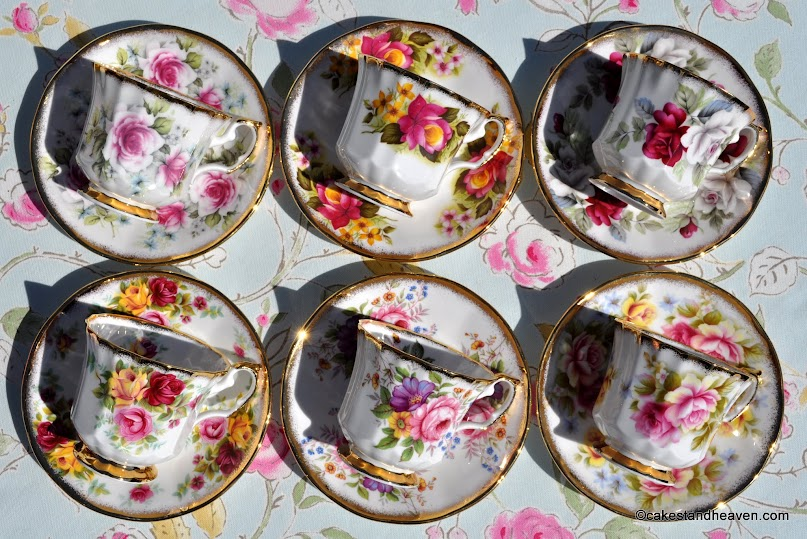 Beautiful chintz floral set of six tea cups and saucers