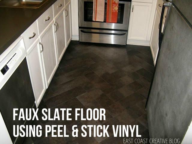 """DIY Herringbone """"Tile"""" Floor Using Peel & Stick Vinyl {Knock It Off}"""