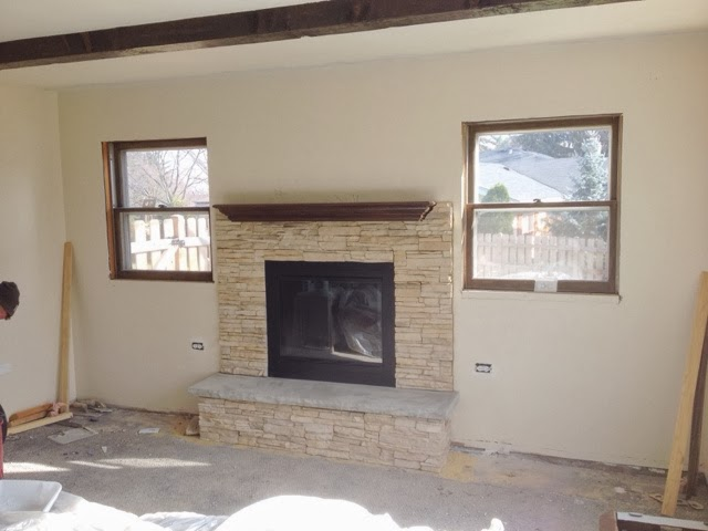 This happy life fireplace makeover for Fireplace half stone